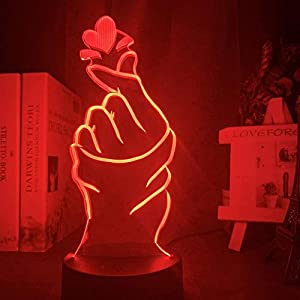 3D led Touch/Remote Control Lamps nightlights Finger Heart Led Night Light for Home Decoration Color Color Changing Touch Sensor Nightlight Cool Birthday Gift Table 3D Lamp MAGY