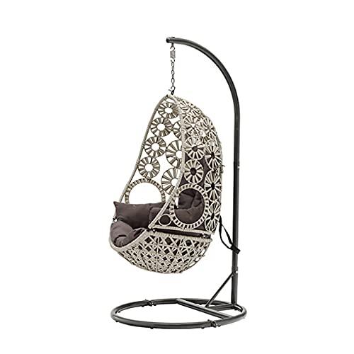 MKKYDFDJ Silla colgante de huevo columpio, silla oscilante de huevo a prueba de óxido, forma redonda para jardín al aire libre, patio interior colgante, honda ajustable para jardín, patio, terraza