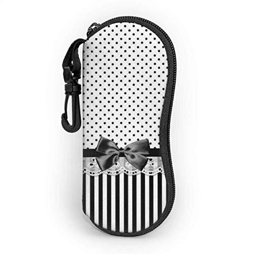OKIJH Glasses Case with Carabiner,Black And White Stripes With Bow Ultra Light Portable Neoprene Zipper Sunglasses Soft Case