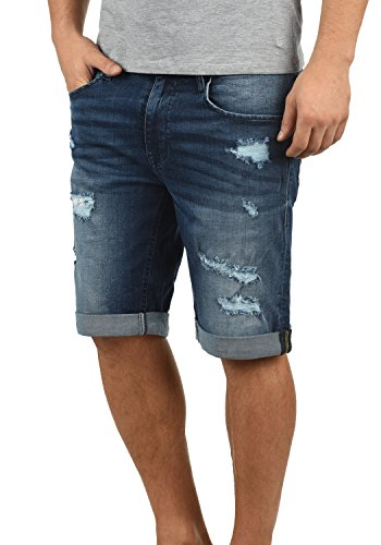 Blend Deniz Herren Jeans Shorts Kurze Denim Hose Mit Destroyed-Optik Aus Stretch-Material Regular Fit, Größe:L, Farbe:Denim Darkblue (76207)