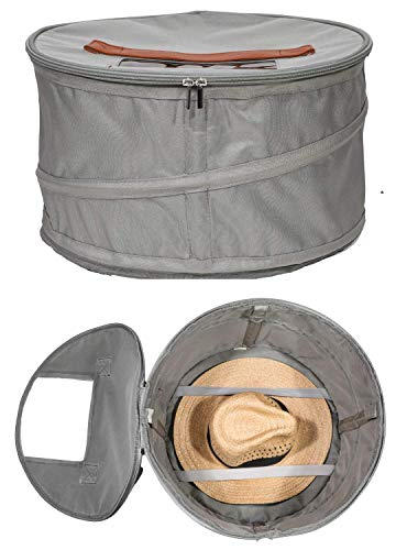 HappiBox Hat Storage Box | Stuffed Animal Toy Storage | Stackable Round Pop-up Container | Travel Hat Boxes for Women & Men | Closet Organizer w Lid | Dust Cover Cowboy & Sun Beach Hats (Gray, 1 Pack)
