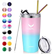 Vmini 20 oz Tumbler with Straws and Lids, Ice Coffee Tumbler, Travel Mug Vacuum Insulated Coffee Beer Pint Cup - 18/8 Stainless Steel Water Bottle : Pink + Blue