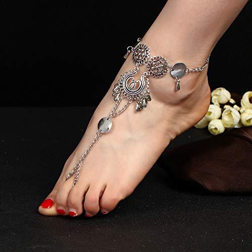 Anglacesmade - Cavigliera in stile bohémien, con nappa, con anello da piede, sandali da spiaggia a piedi nudi, gioiello estivo per donne e ragazze