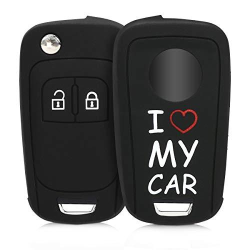 kwmobile Autoschlüssel Hülle kompatibel mit Opel Chevrolet 2-Tasten Klapp Autoschlüssel - Silikon Schutzhülle Schlüsselhülle Cover I Love My car Weiß Rot Schwarz