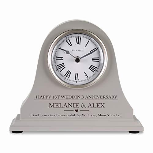 De Walden 1st Wedding anniversary couple gift Engraved Grey Mantel Clock First