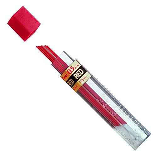 Pentel Lead 0.5mm, Red, 12 Leads Per Tube, Box of 12 Tubes (PPR-5)