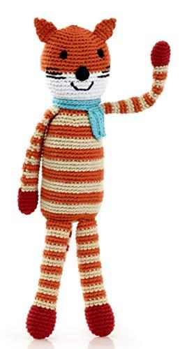 Pebble | Handmade Fox - Orange | Crochet | Fair Trade | Pretend | Imaginative Play | Woodlands | Rattle | Machine Washable