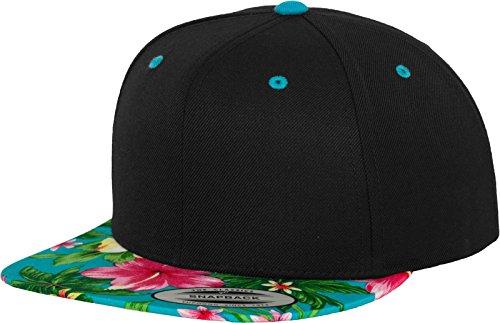 Flexfit Erwachsene Mütze Hawaiian Snapback, Blk/Aqua, One Size