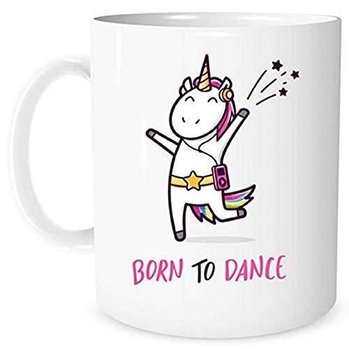 N/ A Taza de Unicornio Regalo de Unicornio niña Bailando Unicornio Regalo de 11 onzas Taza de café Taza niña Adolescente