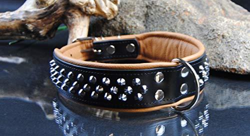 BULLYZEI breites Lederhalsband Kegelnieten 75cm x 5cm schwarz-braun
