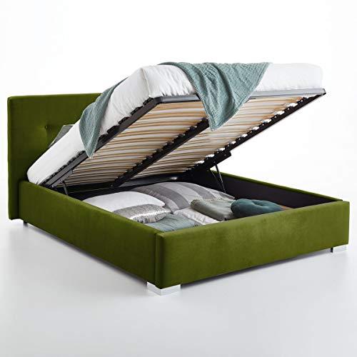 Bett mit Bettkasten Betty Samt-Stoff Polsterbett Lattenrost Doppelbett Stauraum Chromefuß (Oliv, 140 x 200 cm)