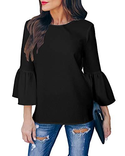Style Dome Bluse Damen Rollkragen Trompeten Halbarm Oberteile Elegante Shirt Rundhals Loose Shirt Tops Schwarz-D95421 S