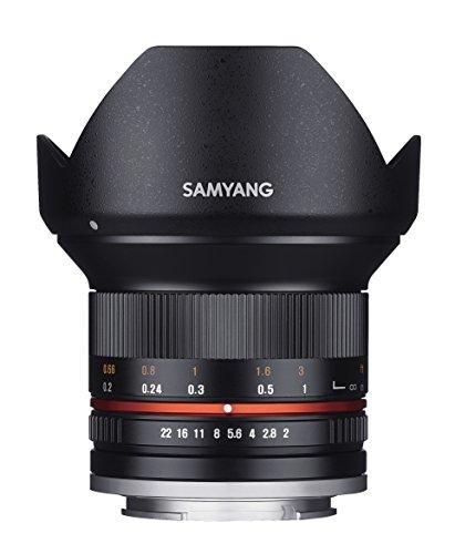 Samyang 12/2,0 Objektiv APS-C Canon M manueller Fokus Fotoobjektiv, Weitwinkelobjektiv schwarz