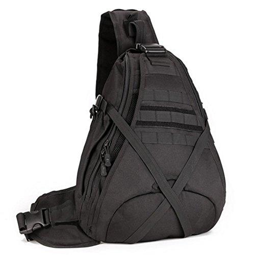 YAAGLE Groß Fassungsvermögen Reisetasche Schultertasche Gepäck militärisch Brustbeutel 14 Zoll Laptoptasche Fahrradrucksack Bergsteigen Kuriertasche-schwarz