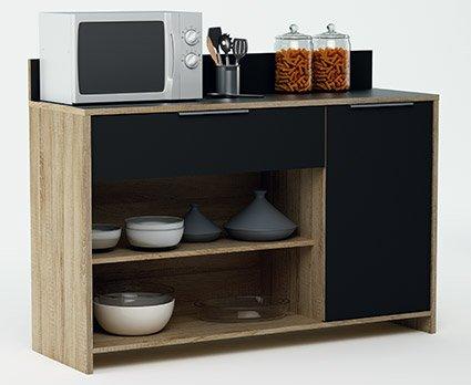Abitti Mueble Auxiliar para microondas o aparador Color Roble y Negro 123x85cm