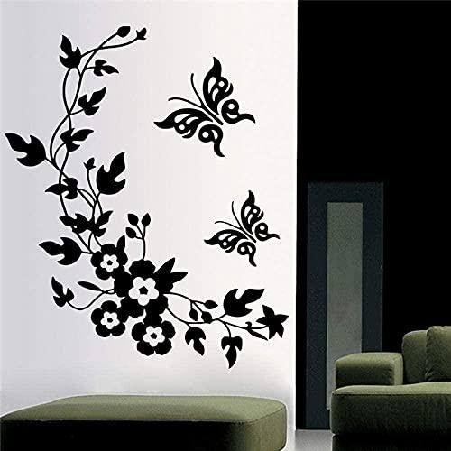 Autopublicado Decoración de Pared Mariposa Flor Vine Pegatinas Decorativas de Pared Decoración del Hogar Decoración de Cocina Baño Mural Vinilo Calcomanías 68X56cm
