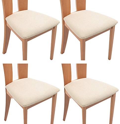 TIANSHU Funda Asiento Silla,Fundas elásticas para Asientos de sillas de Comedor y Oficina Jacquard Poliéster Elástica Fundas sillas Duradera(Paquete de 4,Marfil)