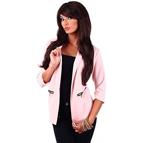 Fashion4Young 10744 Damen Kurzjacke Blazer Jäckchen Jacke knopflos mit Reverse Gr.36/38 (S/M=36/38, Rosa)