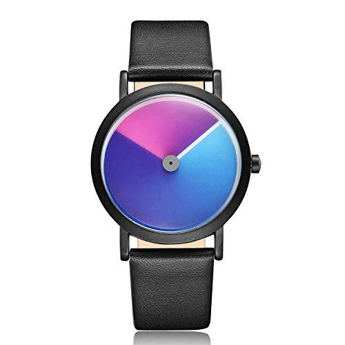 GORBEN Simple Swirl Reloj de pulsera analógico de cuarzo correa de cuero minimalista impermeable