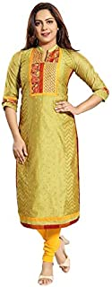 Dream & Dzire Women's Chanderi Green Calf Length Kurti for All Plus Size and Small Size