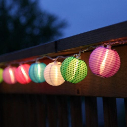 10 ft. Multicolor Outdoor String Light, 10 Mini Lanterns, 1 Plugin Strand, Connectable, Water Resistant, Indoor/Outdoor Use, Expandable to 150 Lights
