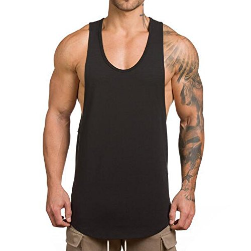 Magiftbox Men's Muscle Gym Workout Stringer Tank Tops Bodybuilding Fitness T-Shirts T01_Black_US-M