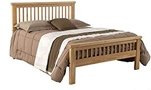 Queen Size Platform Bed Natural Honey Finish/Solid Wood/No Box Spring Needed