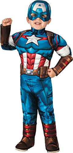 Rubie's baby boys Marvel Super Hero Adventures Deluxe Infant and Toddler Costumes, Captain America, Toddler US