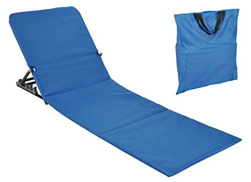 Spetebo Strandmatte faltbar mit Rückenlehne - blau - Sonnenliege Strand Liege Matte Gartenliege