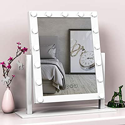 Hansong Large Vanity Makeup Mirror with Lights,Hollywood Lighted Dressing Tabletop Mirror,Beauty Cosmetic Mirrors with 15 pcs Led Bulbs,3 Color Lighting Modes,10X Magnification Mirror Include,White