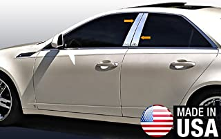 Made in USA! Works with 2008-2013 Cadillac CTS 4 PC Stainless Steel Chrome Pillar Post Trim