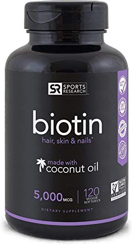 Biotin (High Potency) 5,000mcg Per Veggie Softgel; Enhanced with Coconut Oil For Better Absorption; Supports Hair Growth, Glowing Skin and Strong Nails; 120 Mini-Veggie Softgels; Made In USA.