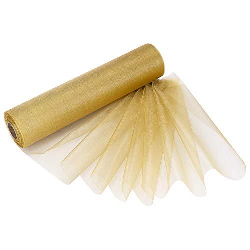 Trimming Shop Schnee Transparent Organza Rollen Glitzer Stoff für Hochzeit Weihnachten Party Stuhl Schärpen Tischläufer Dekorationen 29cm X 25m - Gold, 29CM