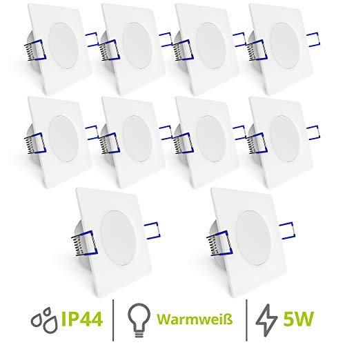 linovum WEEVO 10x Einbauleuchte LED Set extra flach IP44 für Bad & Außen - Spot 230V weiß eckig 5W 2700K - Einbautiefe 29mm