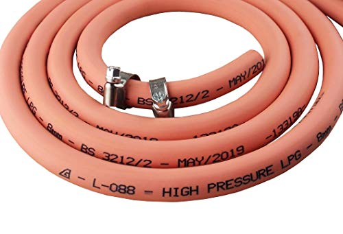 8mm Orange Gas Pipe for Propane/Butane, Stamped with Manufacture Date + Clips (2m)