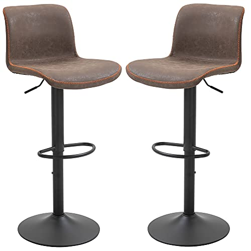 HOMCOM Set of 2 Bar Stool Adjustable Height Swivel Footrest and Base for Breakfast Bar, Kitchen and Home, Brown