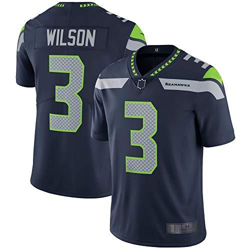 Russell #3 Custom American Football Rugby Wilson Seattle Jerseys Seahawks Quick-Drying Sportswear for Men - Blue