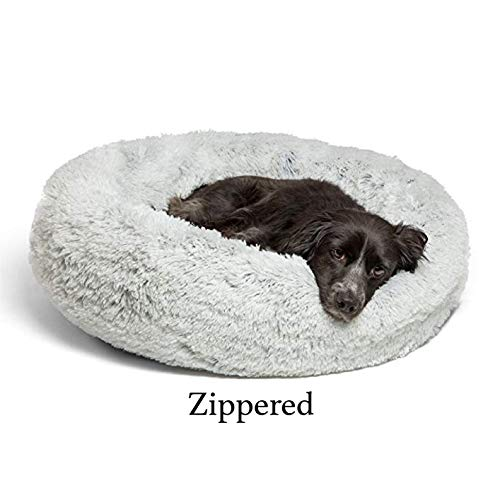 Price comparison product image Best Friends by Sheri Calming Shag Vegan Fur Donut Cuddler (30x30,  Zippered) Medium Round Donut Cat & Dog Cushion Bed,  Warming & Cozy for Improved Sleep,  Machine Washable - Petsup to 45 Lbs