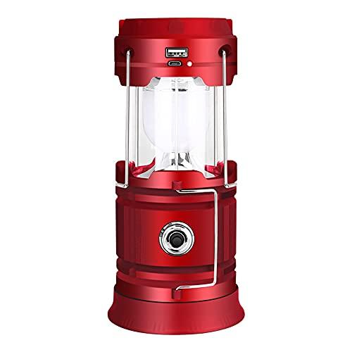 SDlamp Linterna de Camping LED Recargable USB Solar, linternas portátiles para teléfono, Impermeable de Emergencia al Aire Libre de Emergencia, Carga de luz, para Acampar,Rojo