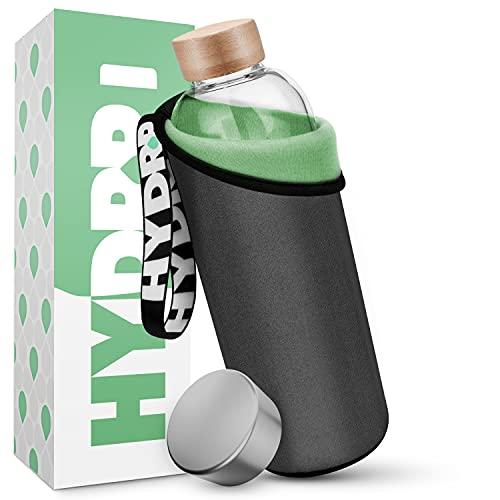 HYDROP® – Bottiglia di vetro 750 ml & 1 litro con 2 colori Pro custodia protettiva [interno ed esterno] Borraccia in l extra infrangibile da
