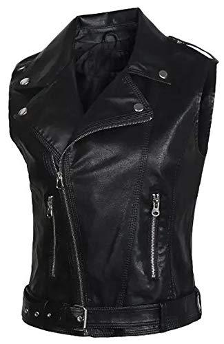 Kedera Womens Motorcycle Biker Faux Leather Sleeveless Vest Jacket Slant Zip with Pockets (Black, Large)
