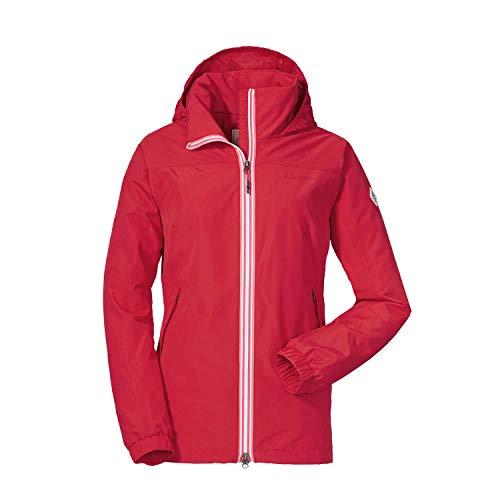 Schöffel Damen Jacket Yokohama2 modische und wasserdichte Damen Jacke, bequeme Regenjacke für Frauen mit integrierter Sicherheitstasche, lollipop, 52