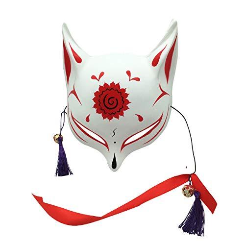 Large Fox Mask for Adults and Kids, YangYong Japanese Kabuki Kitsune Masks for Men Women Cosplay