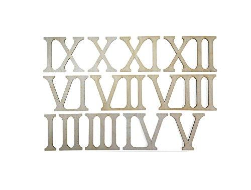Petra's Bastel News 12-teiliges Holzset Römische bestehend aus Zahlen I-XII (Höhe ca. 80 mm), Holz, 16x8x5 cm