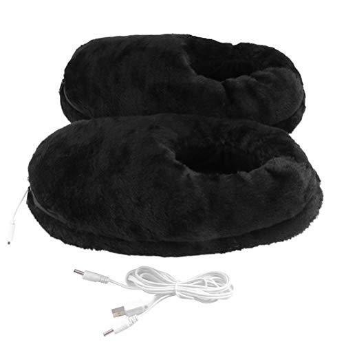 Justpe Heated Slippers, Foot Warmer Indoor Heated Slippers USB Electric Heated Up Cold Weather House Shoes Comfortable Warming Slippers with Temperature Control to Keep Feet Warmer for Men Women