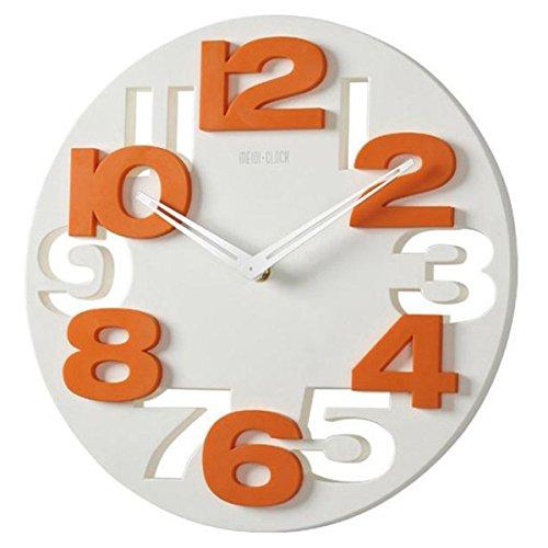 WINOMO Novità traforate 3D grandi cifre cucina Home Office Decor tondo orologio da parete a forma di orologio Art (bianco)