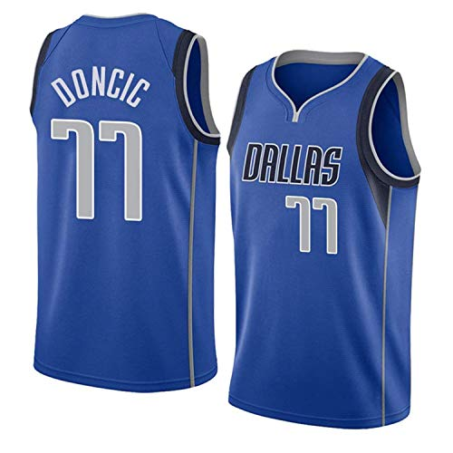 Camiseta de Baloncesto para Hombre, NBA, Dallas Mavericks #77 Luka Doncic. Bordado, Transpirable y Resistente al Desgaste Camiseta para Fan (XXL)