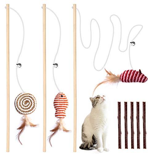 Interaktives Katzenspielzeug Spielzeug mit Federn, 3er 40cm Teaser Zauberstab Spielzeug mit Elastisches Seil für Katzen Spielen Spaß, Bonus 5er Katzenminze Sticks für die natürliche Katzen Zahnpflege