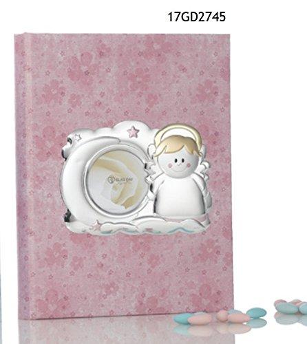 Album Fotografico ROSA nascita bambina 24x30 cm argento laminato MADE IN