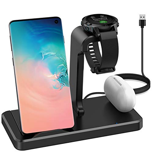 Elobeth Charger Station Compatible with Garmin Venu Sq/Forerunner 745/Vivoactive 3/3 Music/4/Fenix 5/6/6S/6X Watch Charger Stand 3 in 1 Wireless Charger Stand Type C Headphone Qi Phone(Not for Airpod)